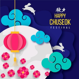 Chuseok in paper style concept