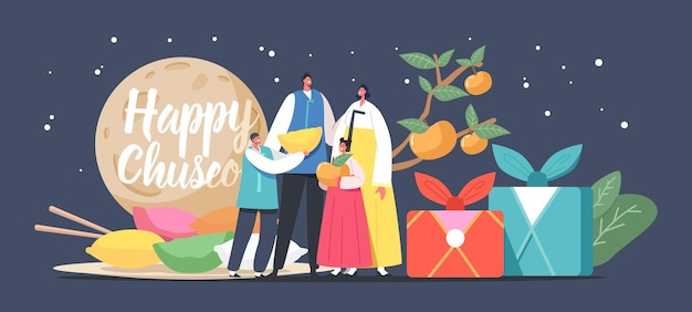 Chuseok tteok korean tradition concept. happy asian family with kids characters wearing traditional costumes hanbok stand at songpyeon rice cakes and persimmon tree. cartoon people vector illustration