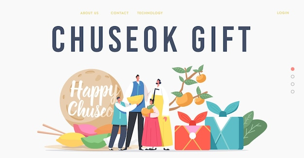Chuseok tteok landing page template. happy asian family with kids characters wearing traditional costumes hanbok stand at songpyeon rice cakes and persimmon tree. cartoon people vector illustration