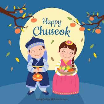 Счастливый фон chuseok