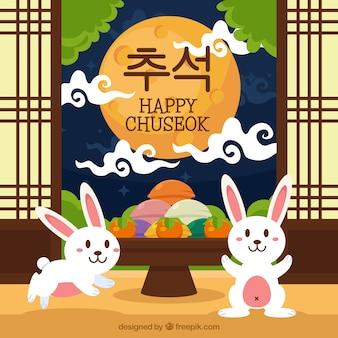 Счастливый фон chuseok с кроликами