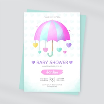 Шаблон карты детского душа chuva de amor