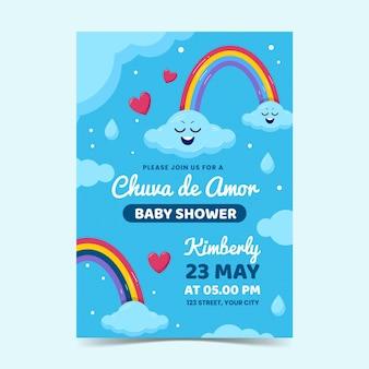 Шаблон приглашения детского душа chuva de amor