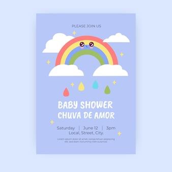 Chuva de amor baby shower modello di invito