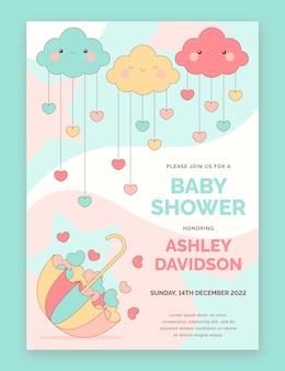 Chuva de amor baby shower invitation template