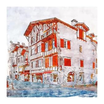 Ciboure 프랑스 수채화 스케치 손으로 그린 그림