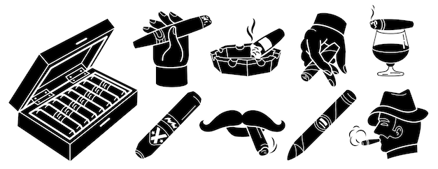 Cigar icons set