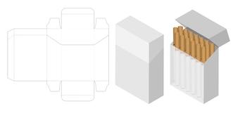 タバコのボックス3d mockup with box dieline