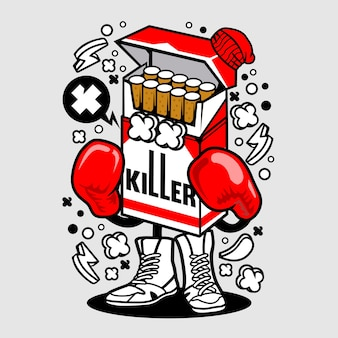 Cigarette boxer cartoon