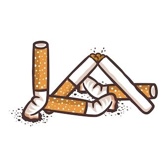 담배 꽁초. 흡연의 나쁜 해로운 습관.