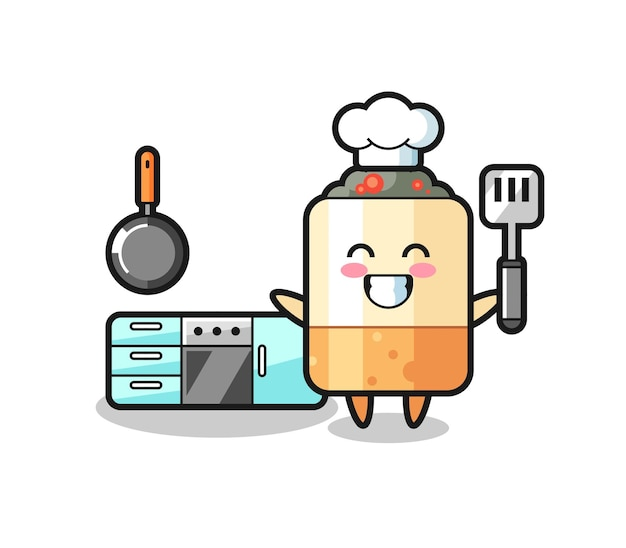 요리사로서의 담배 캐릭터 삽화가 요리를 하고 있고, 귀여운 디자인