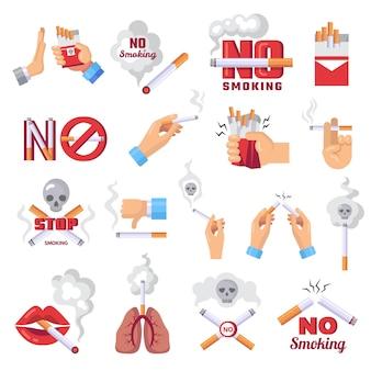 Значок сигареты. опасно от дыма сигарет векторные иллюстрации концепции защиты легких. запрет табачных сигарет, нездоровая медицинская зависимость