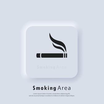 Значок сигареты. символ места для курения. зона для курящих, курение разрешено. вектор. значок пользовательского интерфейса. белая веб-кнопка пользовательского интерфейса neumorphic ui ux.