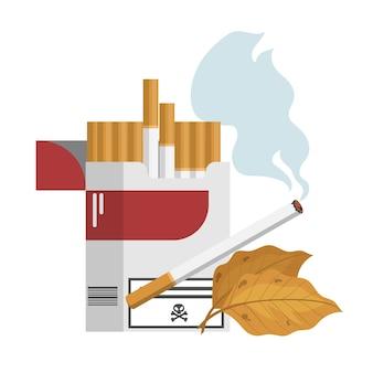 Сигарета в бело-красной коробке. вредная привычка и табачная зависимость. дым от никотиновой сигареты. иллюстрация