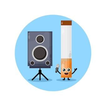 Cigarette karaoke cute character mascot