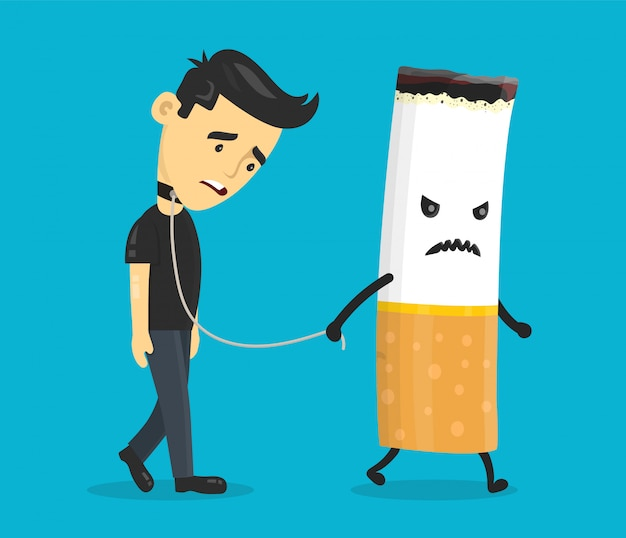 Cigarette leads to a chain of a young man. smoking slave, nikotine, cigarette addiction.flat cartoon character illustration  design. isolated on blue background.