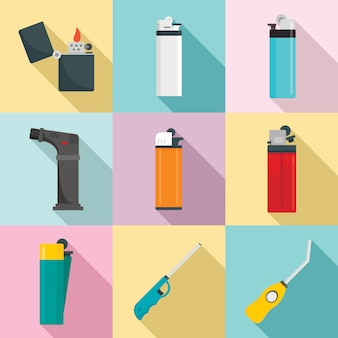 Cigarette lighter icons set, flat style