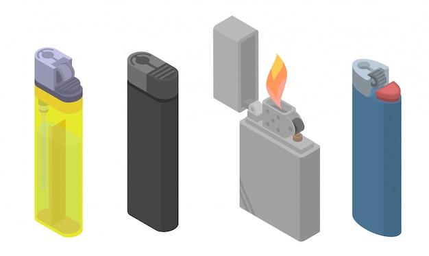 Cigarette lighter icons set, isometric style