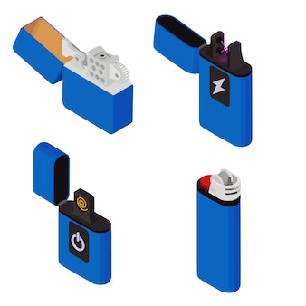 Cigarette lighter icons set, isometric style