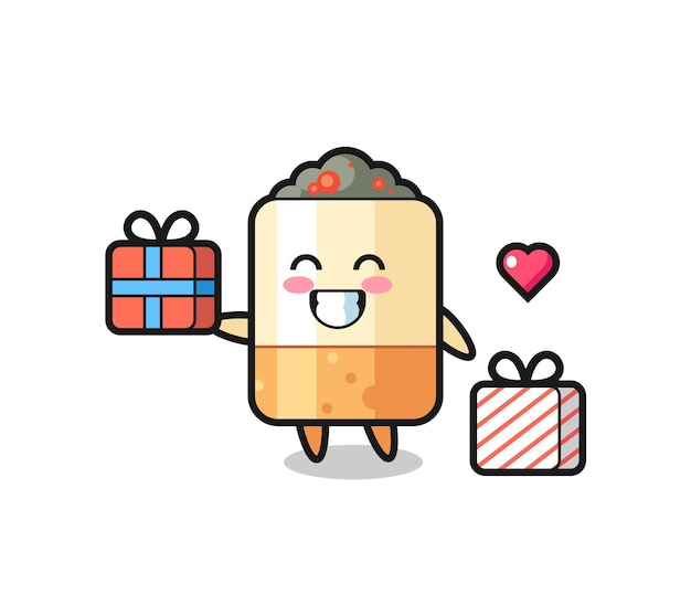Cigarette mascot cartoon giving the gift , cute design