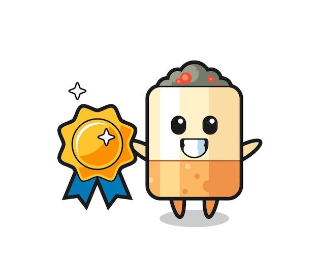 Cigarette mascot illustration holding a golden badge , cute design