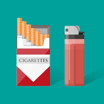 Cigarette pack with cigarettes and lighter