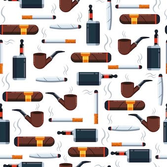 Cigarette   seamless pattern on a white   for wallpaper, wrapping, packing, and backdrop.