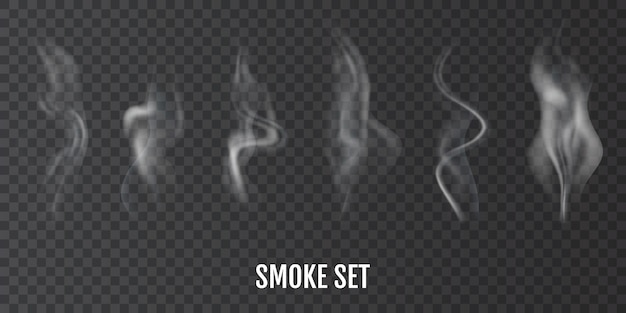 Cigarette smoke. set of realistic smoke or steam texture, created with gradient mesh.