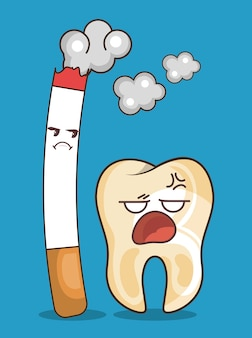 Cigarette and teeth character icon