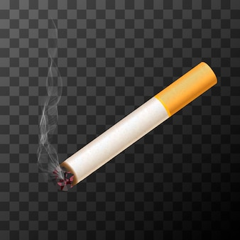 Cigarette with white smoke on transparent background