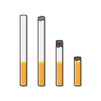 Cigarettes during different stages of burn  icon illustration