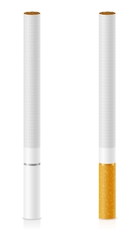 Cigarettes with yellow and white filter on white