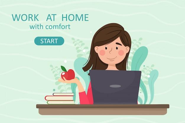 Работа на дому с cimfort. девушка-фрилансер работает дома за ноутбуком, удаленная работа. иллюстрация в мультяшном стиле.