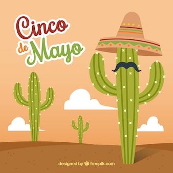 Cinco de mayo sfondo di cactus con cappello e baffi