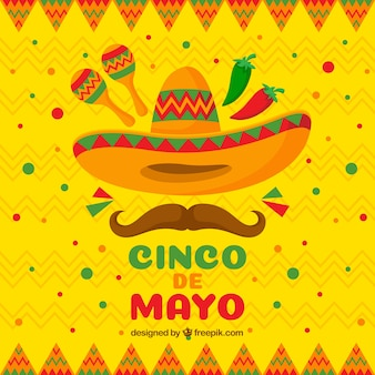 Cinco de mayo background in flat style