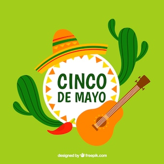 Cinco de mayo background with cactus and guitar