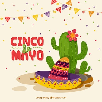 Cinco de mayo background with cactus
