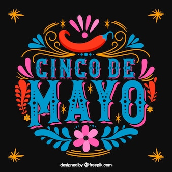 Cinco de mayo background with coloful ornaments