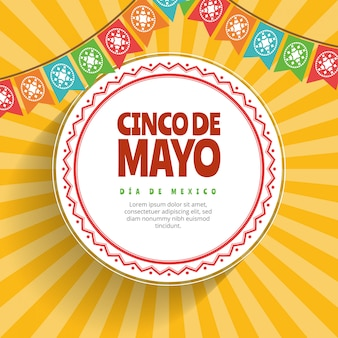Cinco de mayo background with colored flags