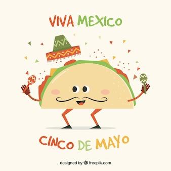 Cinco de mayo background with funny taco