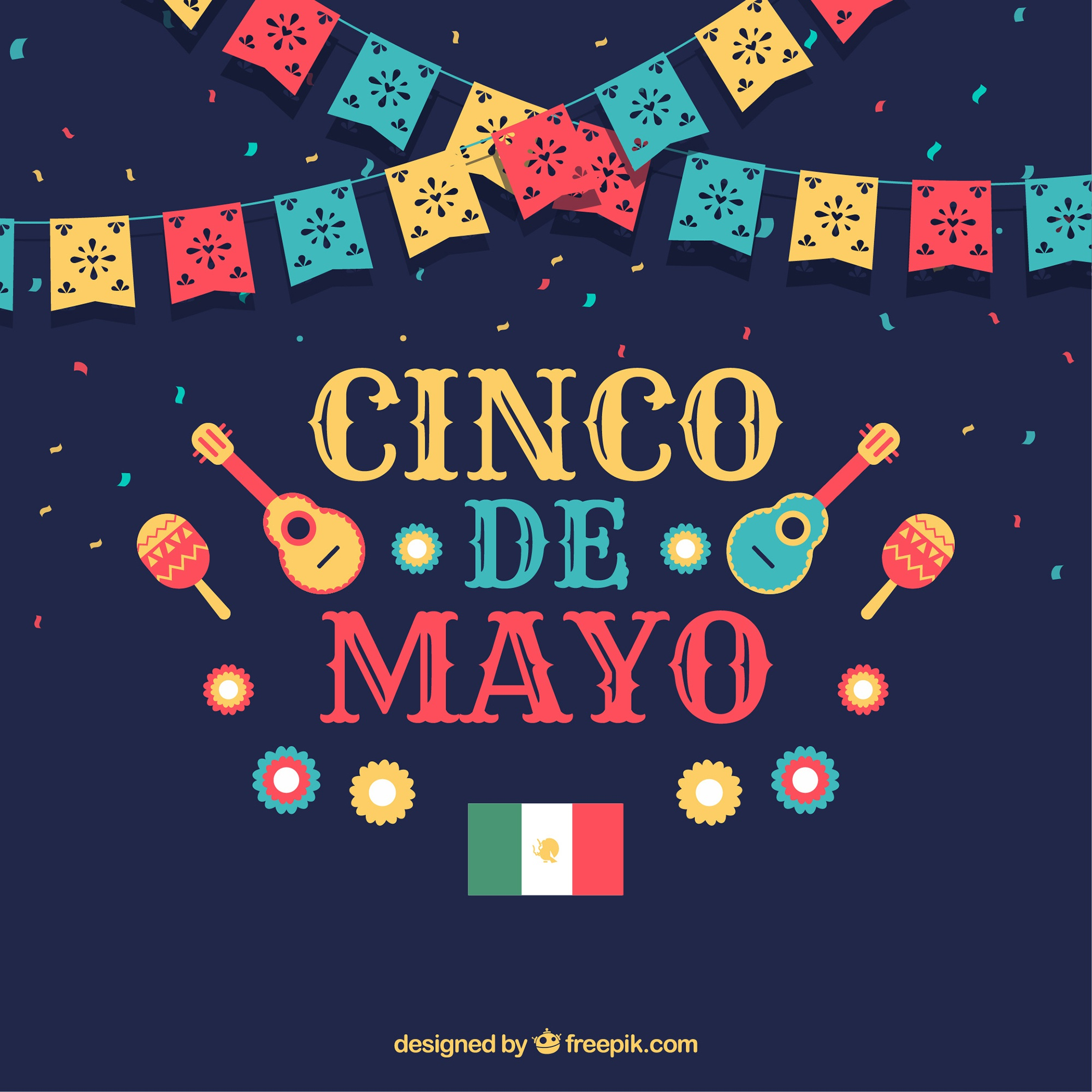 Cinco de mayo background with instruments and pennants