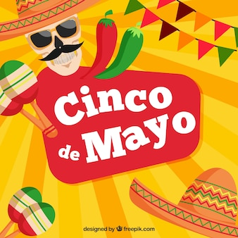 Cinco de mayo background with maracas and skull