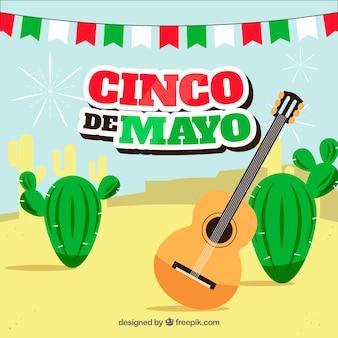 Cinco de mayo sfondo con elementi messicani in stile piano