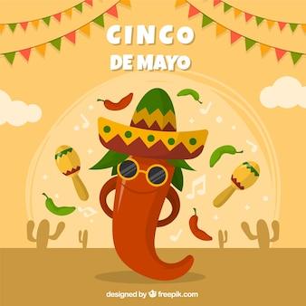 フラットなスタイルのメキシコの要素を持つcinco de mayoの背景