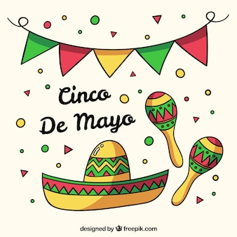 Cinco de mayo background with mexican elements