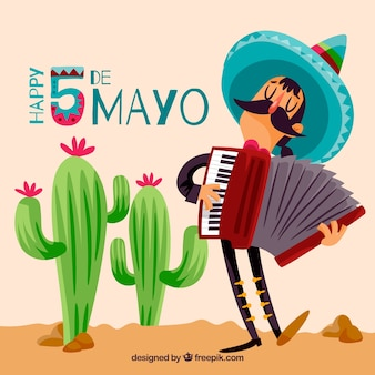 Cinco de mayo background with mexican musician