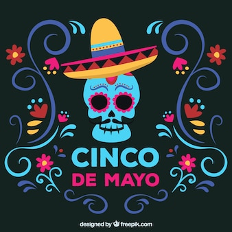 Cinco de mayo background with mexican skull