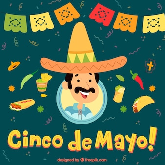Cinco de mayo background with mexican and traditional food