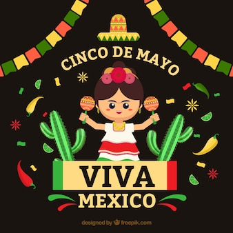Cinco de mayo background with mexican woman