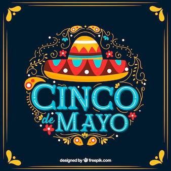 Cinco de mayo background with ornaments and mexican hat